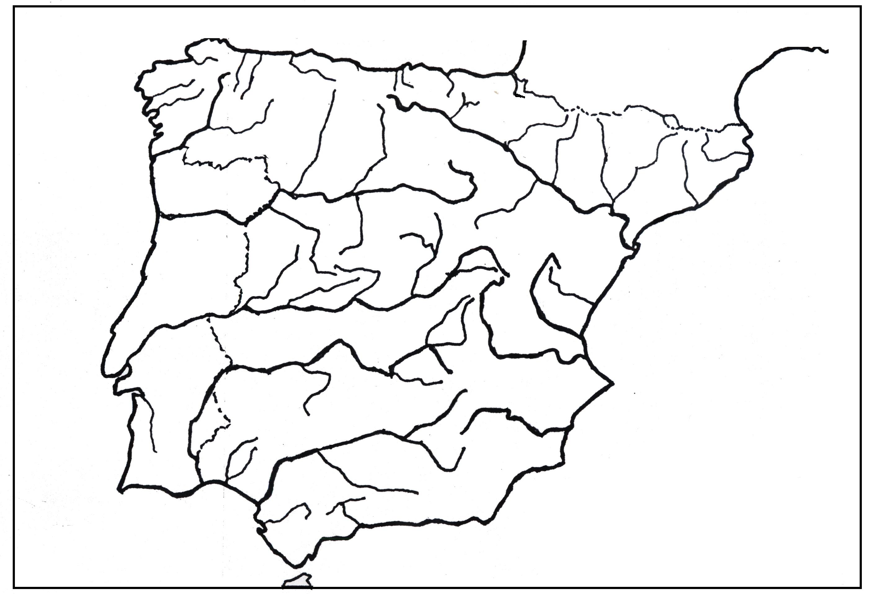 Mapa De España Mudo Rios Para Imprimir.Mapa Mudo De Rios De Espana Para Hacer